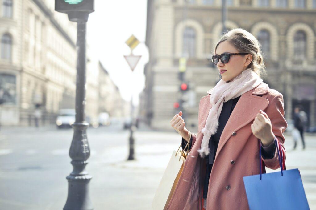 Girl shopping for Travel